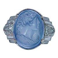 GIA Sri Lanka No Heat 22ct Sapphire Carved Cameo Diamond Platinum Ring Art Deco