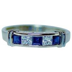 Princess Diamond Sapphire Anniversary Ring 14K Gold VS-H