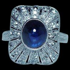 ART DECO Old Miner Mine Diamond Ceylon Sapphire Ring Platinum 14K Gold Estate