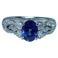 Vintage 18K White Gold Ceylon Sapphire Pear Marquise Diamond Ring Estate Designer F Lau