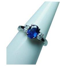 Ceylon Sapphire Oval Diamond 3 stone Ring 14K White Gold