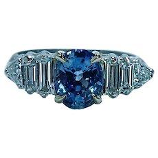 Vintage 2ct Ceylon Sapphire Diamond Baguette Platinum Ring Estate