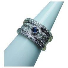Vintage 18K Gold Sapphire Diamond Ring Cigar Band Heavy Estate