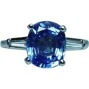 Vintage Platinum 2.84ct Cushion Sapphire Diamond Baguette 3 stone Ring Certified
