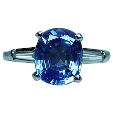 Vintage Platinum 2.84ct Cushion Sapphire Diamond Baguette 3 stone Ring Certified