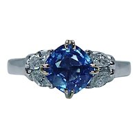 Cornflower Blue Sapphire Cushion Marquise 18K White Gold Diamond Ring