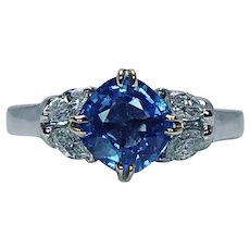 Cornflower Blue Sapphire Cushion Marquise 18K White Gold Diamond Ring
