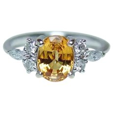Canary Yellow Sapphire Marquise Diamond Ring 18K White Gold