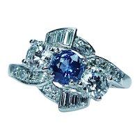 Art Deco Sapphire Transitional Baguette Diamond Platinum Ring Estate