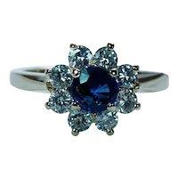 Vintage Sapphire Diamond Halo 14K Gold Ring Princess Diana