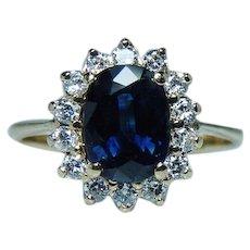 Vintage Sapphire Diamond Halo 14K Gold Princess Diana Ring Estate