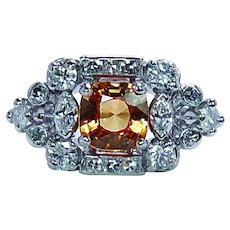 Cushion Canary Yellow Sapphire Marquise Diamond Platinum Ring Estate