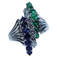 Vintage Sapphire Emerald Diamond Ring 14K White Gold Heavy Estate