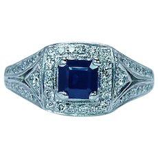 Vintage Sapphire Diamond 14K White Gold Ring Estate