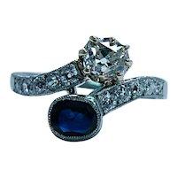 Edwardian Mine Miner Cushion Diamond Sapphire Ring 18K White Gold Toi Moi