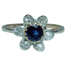 Georgian 14K Gold Sapphire Rose cut Diamond Ring  Antique Estate