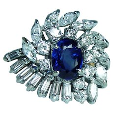 GIA Sri Lanka Sapphire Marquise Baguette Diamond 14K Gold Ring 4.6ct Giant
