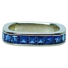 Gubelin Vintage Square Sapphire Ring Band 18K Gold Estate Designer Swissmade Size 4.5
