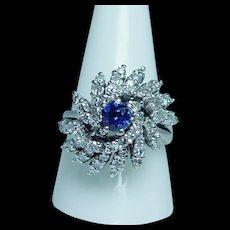 Vintage Kashmir Sapphire Diamond Halo Ring 14K White Gold Large Estate