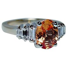 Orange Sapphire Baguette Diamond 14K Gold Ring