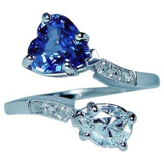 Vintage .54ct Pear Diamond Heart Ceylon Sapphire Ring 14K White Gold Estate