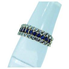 High Quality 18K Gold Diamond Sapphire Ring Band Designer Signed Estate VVS-FG