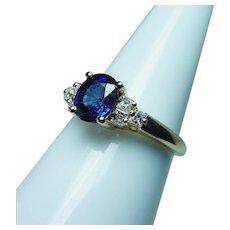Vintage 18K Gold Kashmir Color Sapphire Asscher Diamond Ring Estate