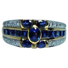 Vintage 18K Gold Diamond Kashmir Color Sapphire Ring Band Estate
