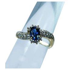 Vintage Kurt Wayne Sapphire Diamond Ring 18K Gold Designer Estate
