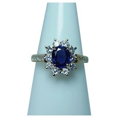 Ceylon Sapphire Diamond 18K Gold Ring Designer