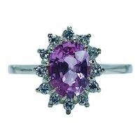 Vintage Hot Pink Ceylon Sapphire Diamond Halo Ring 14K 18K Gold Estate