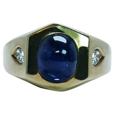 Vintage 3ct Ceylon Sapphire Diamond Man Mens Ring 18K Gold Heavy Estate