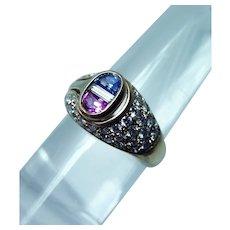 Pink Blue Ceylon Sapphire Diamond Baguette Ring 18K Gold Half Moon