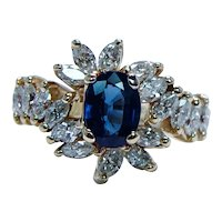 Vintage Sapphire Marquise Diamond Ring 18K Gold Estate 1.7cts