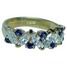 Designer 18K Gold Vintage Marquise Diamond Sapphire Ring