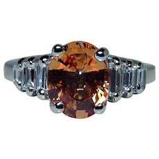 Vintage Baguette Diamond Orange Sapphire 14K Gold Ring Estate