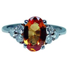 Vintage 18K White Gold Diamond 1.9ct Orange Sapphire Ring Estate