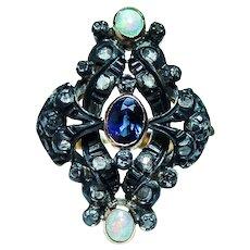 Georgian Sapphire Opal Rose cut Diamond 18K Gold Silver Ring