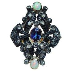 Vintage Diamond 18K Gold Sapphire Opal Rose cut Ring Silver Estate
