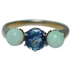 14K Gold Cornflower Sapphire Opal 3 stone Ring