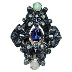 Georgian Diamond 18K Gold Sapphire Opal Rose cut Ring Silver Estate