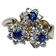 Vintage Sapphire Diamond Flower Ring 14K Gold Estate