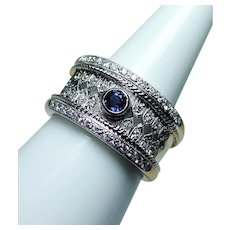 Sapphire Diamond Ring Cigar Band 18K Gold Heavy