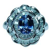 Vintage Ceylon Sapphire Diamond Baguette 18K White Gold Halo Ballerina Ring Estate