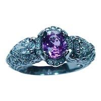 Hot Pink Ceylon Sapphire Diamond Pear Ring 14K White Gold Designer Signed