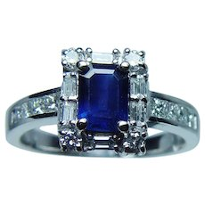 Sapphire Baguette Diamond 14K White Gold Halo Ring Designer