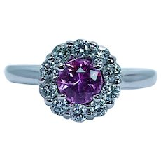 Hot Pink Ceylon Sapphire Diamond Halo Ring 18K White Gold Estate