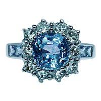 Vintage 2.7ct Cornflower Cushion Sapphire Diamond Halo Ring 18K White Gold Estate