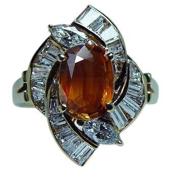 Vintage 18K Gold 2ct Canary Yellow Sapphire Marquise Diamond Ring Estate