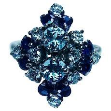 Vintage Sapphire Aquamarine Diamond 14K Gold Cocktail Ring Estate